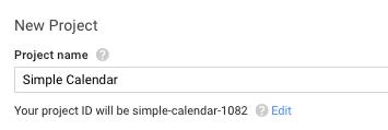 projet de nom de la console des développeurs Google