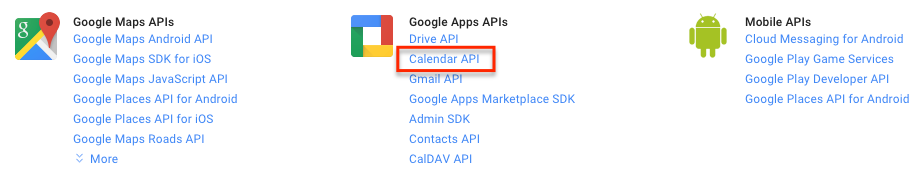 Google Developers Console Select API Calendrier