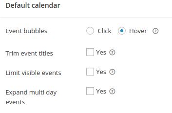Default Calendar Grid settings