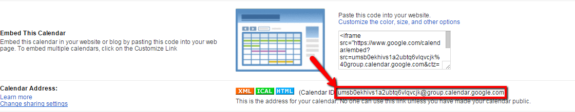 Google - Find your calendar ID