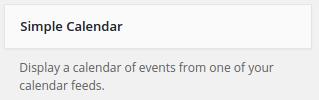 Simple Calendar add widget