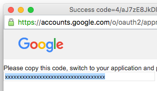 google developers console copy authentication code