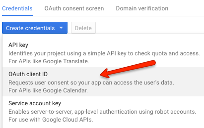 google developers console create credentials oauth client id
