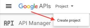 console de développement Google créer un projet