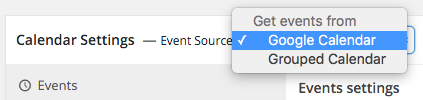 simple calendar settings event source